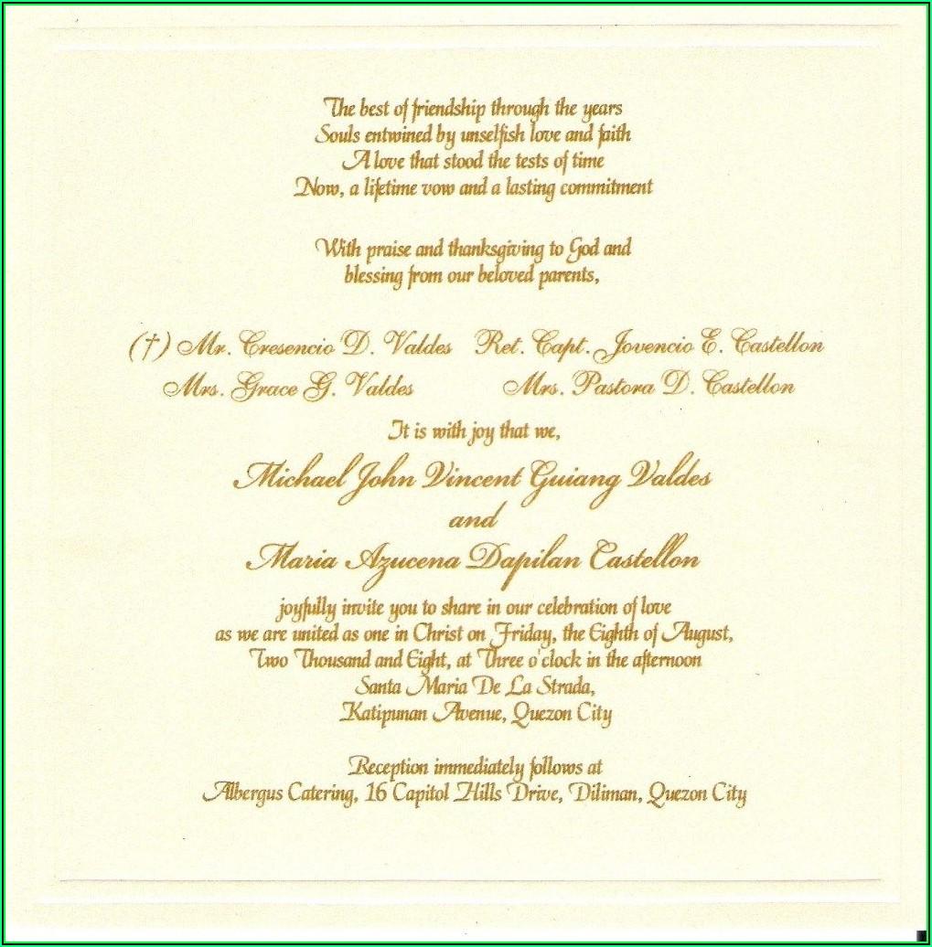 Catholic Wedding Invitation Card Template