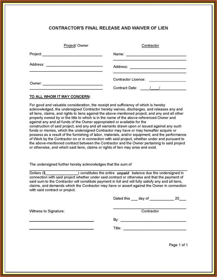 Chicago Title Final Waiver Of Lien Form Illinois