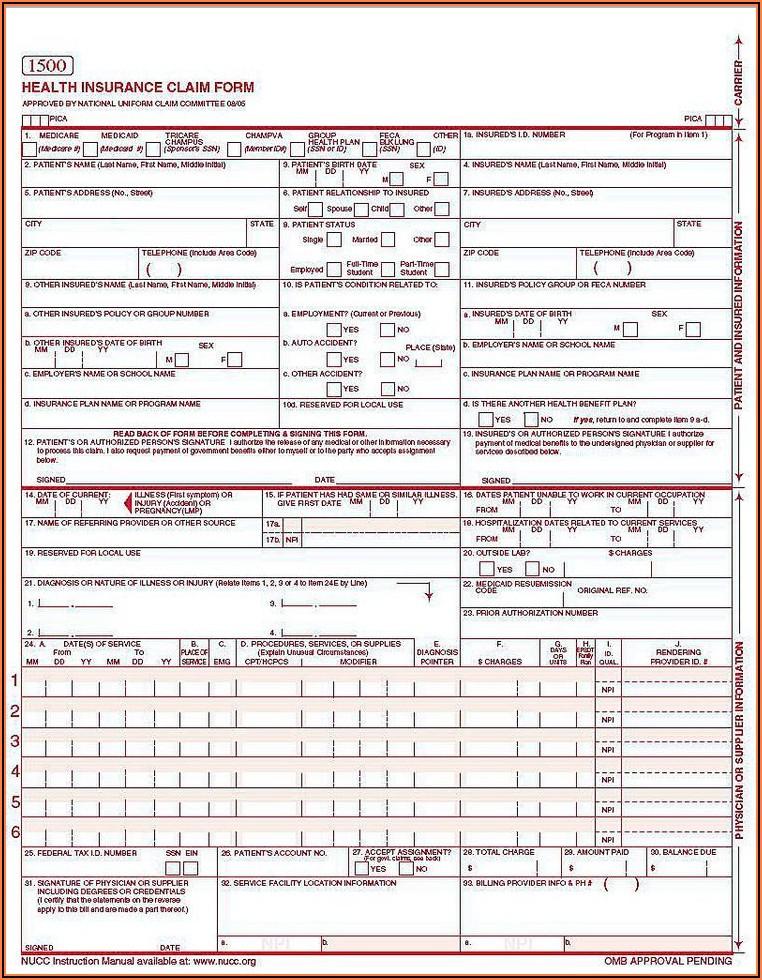 Cms 1500 Claim Form Worksheet