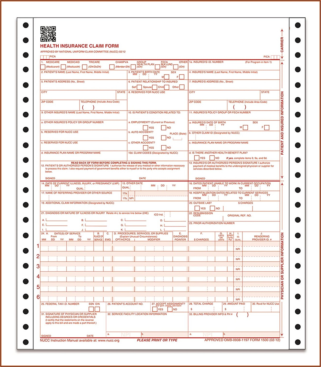 Cms 1500 Claim Forms