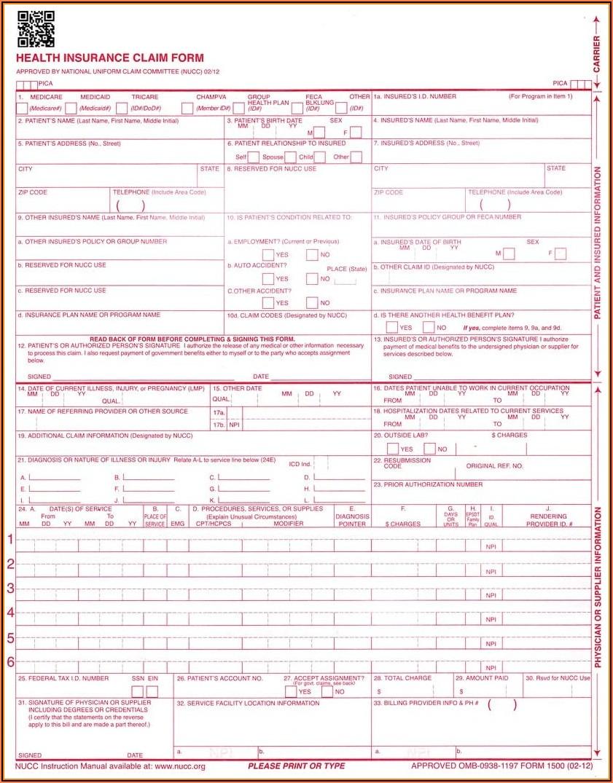 Cms 1500 (hcfa) Claim Forms
