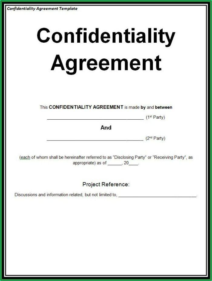 Confidentiality Agreement Template Word Free