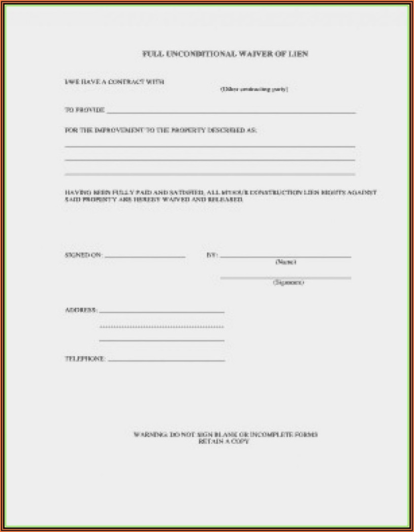 Construction Lien Form Wisconsin