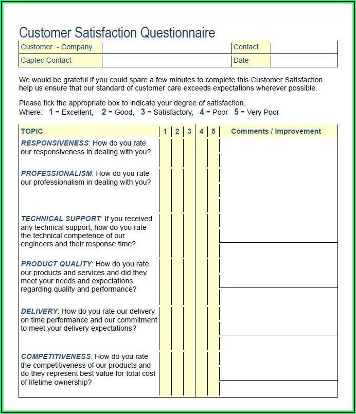 Customer Survey Templates Word