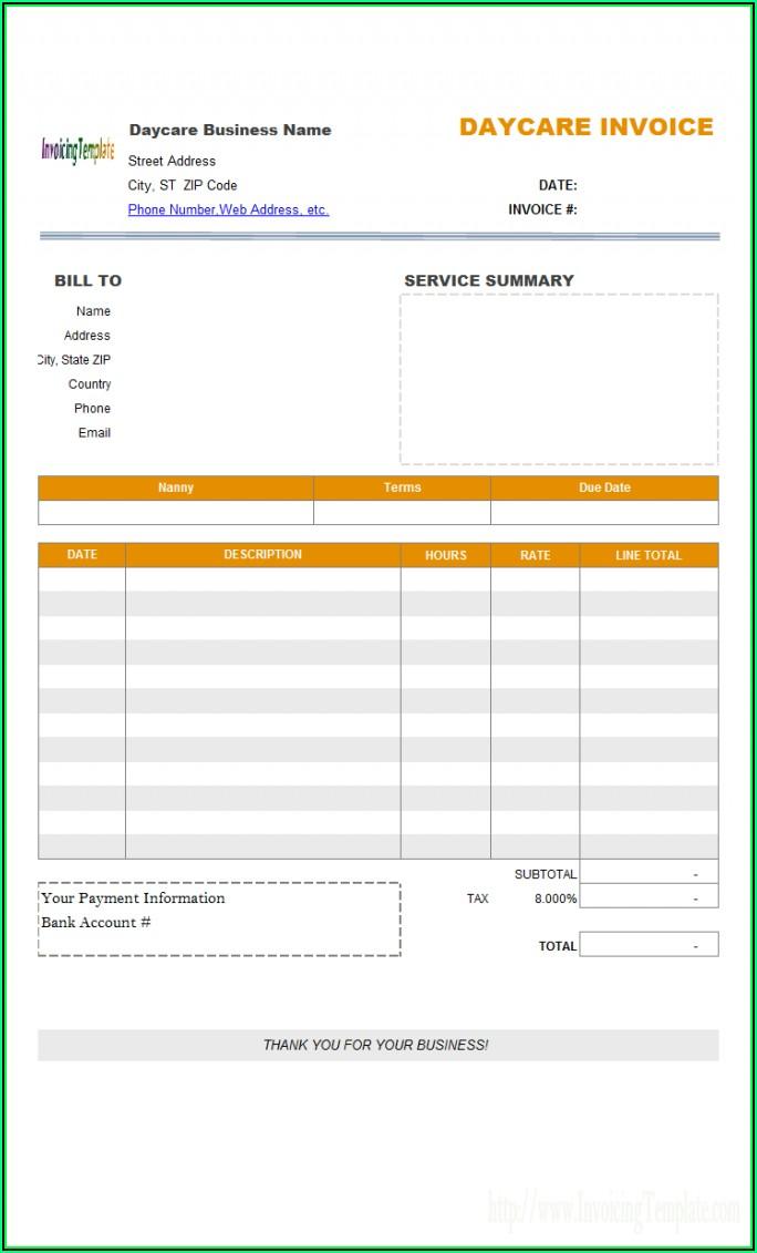 Daycare Bill Template