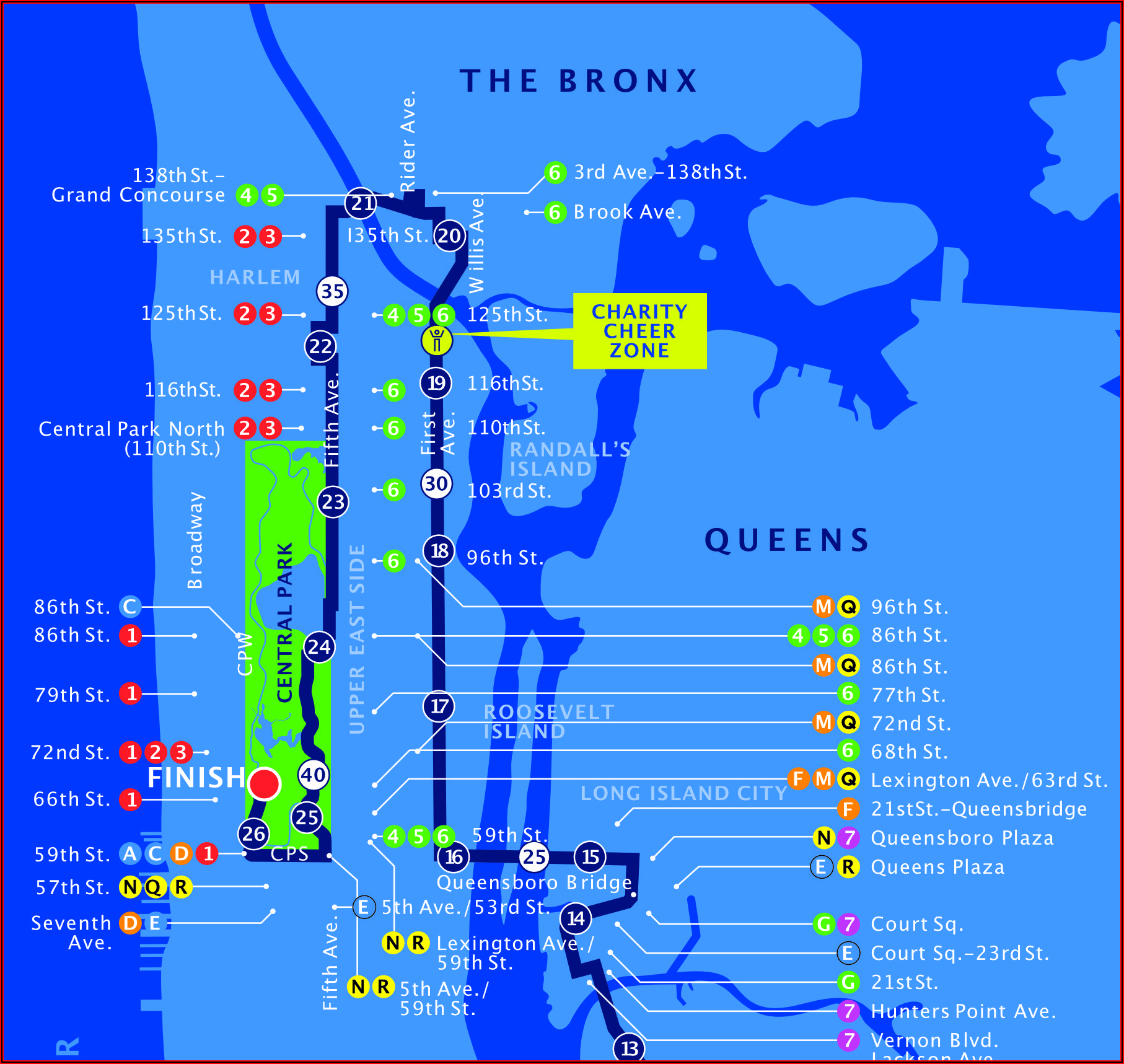 Detailed Map Of Nyc Marathon