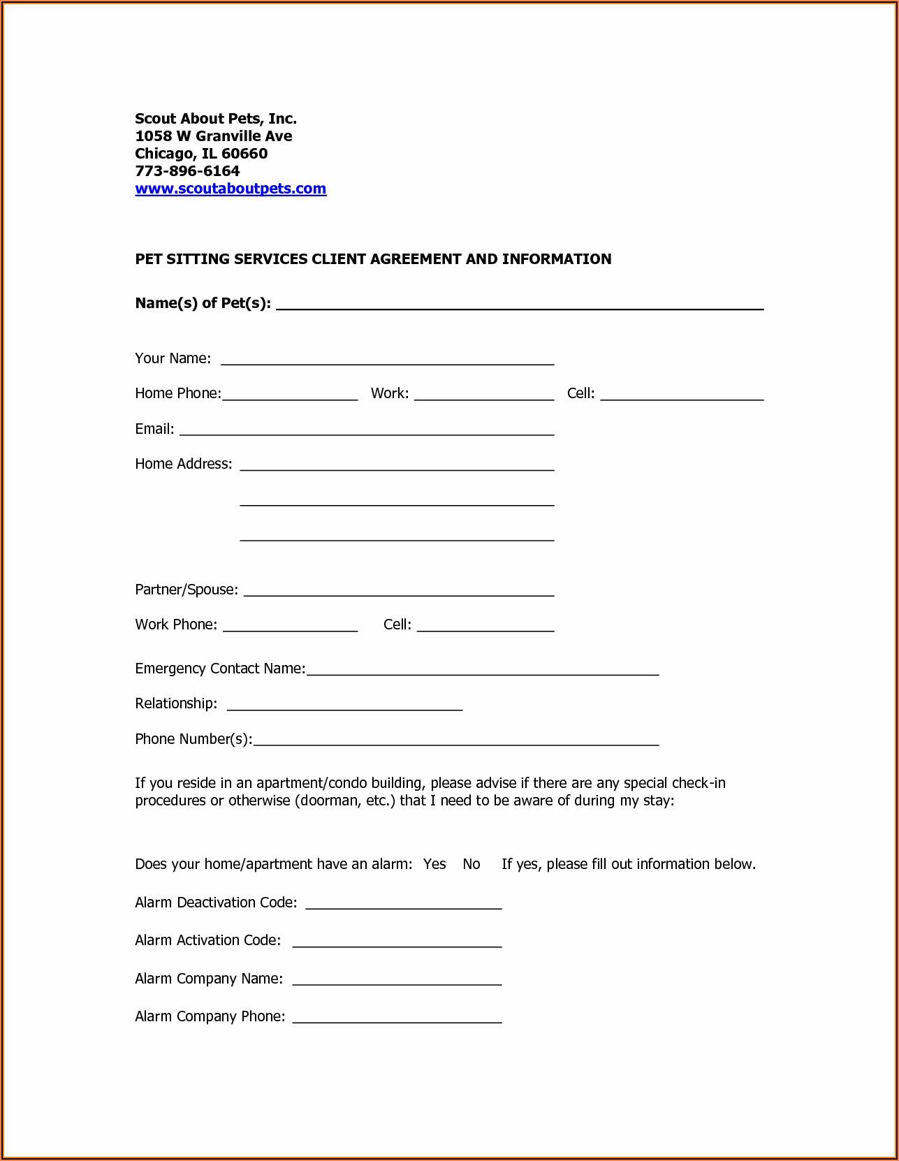 Dog Walking Registration Form Template
