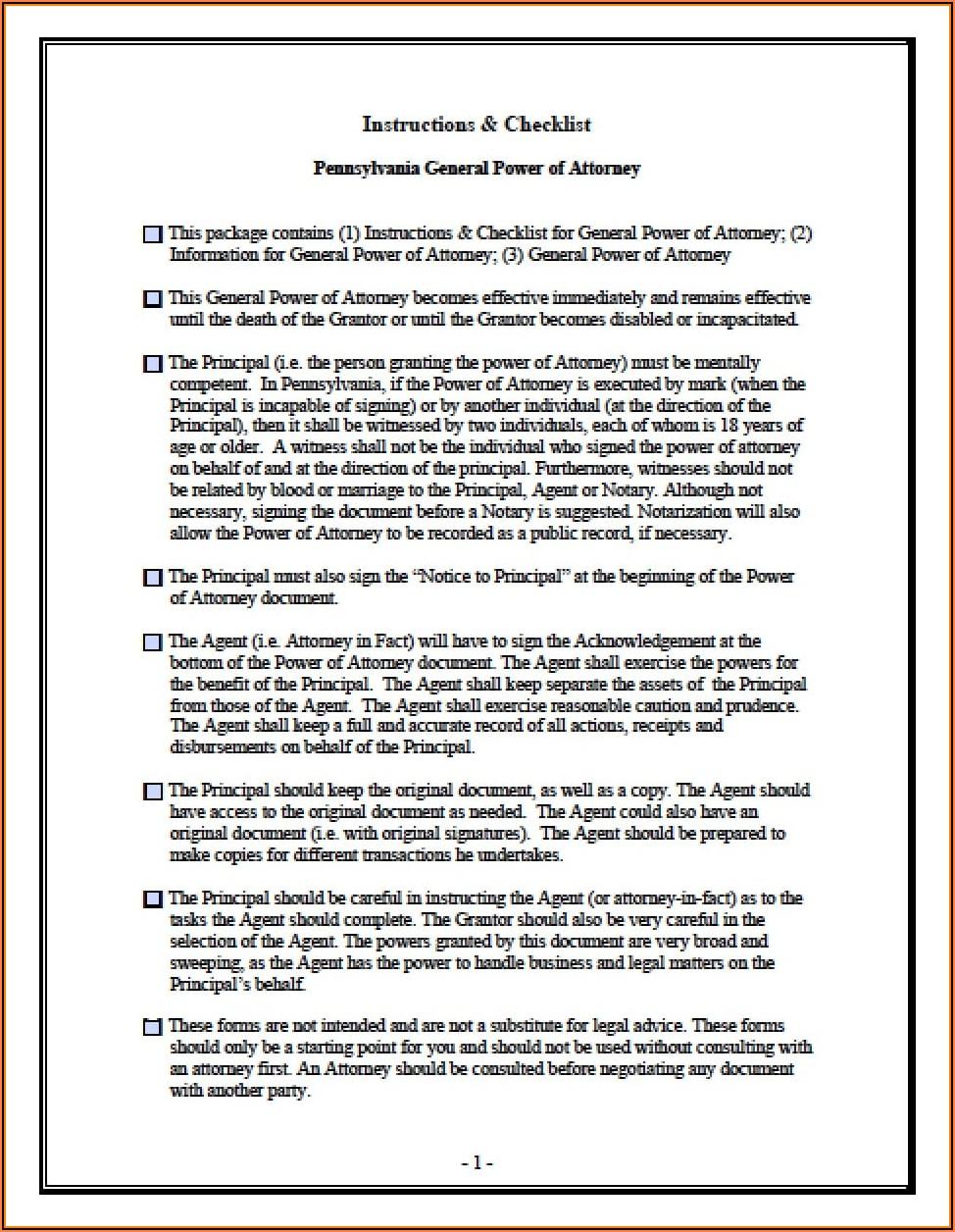 Durable Healthcare Power Of Attorney Form Pennsylvania
