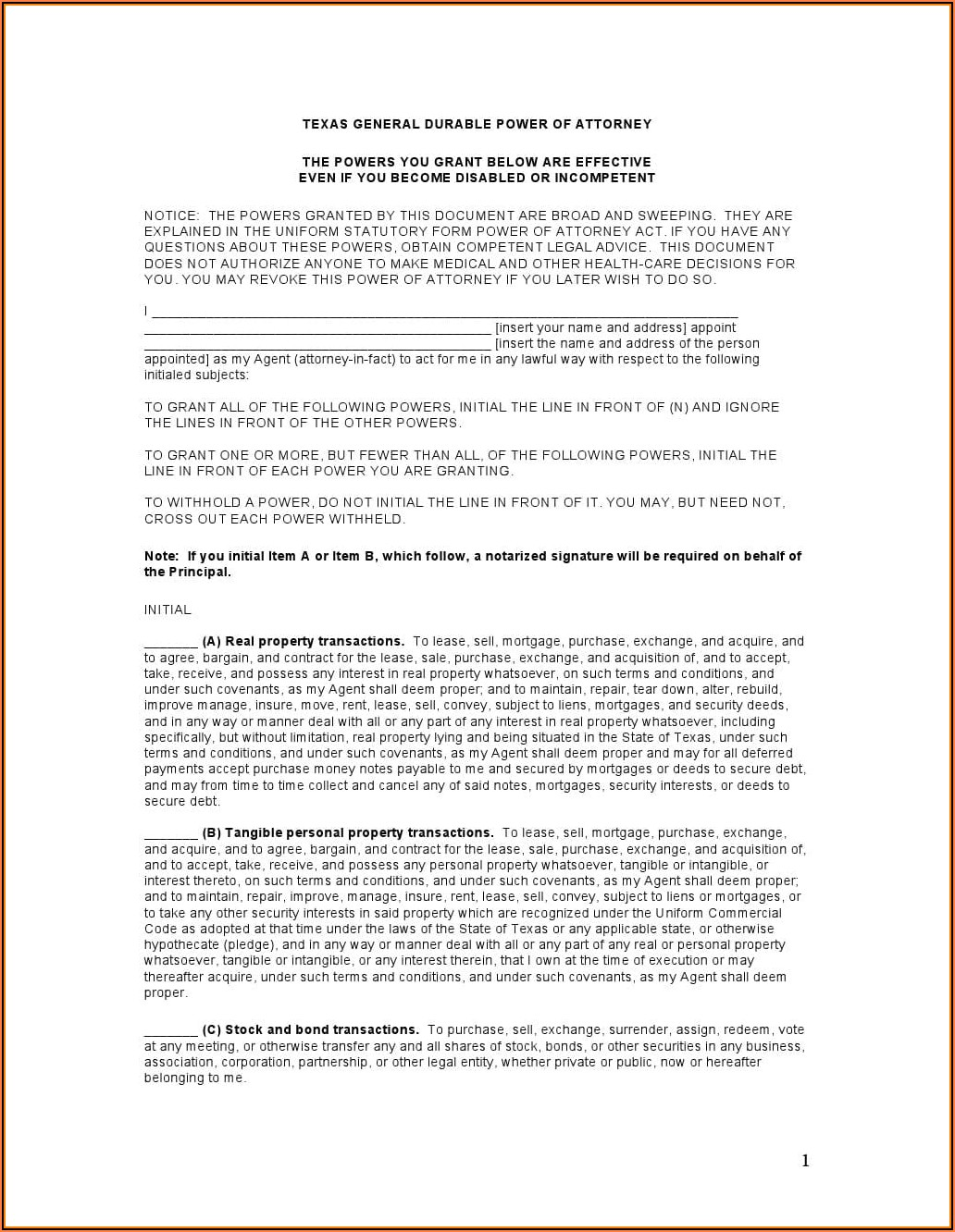 Durable Healthcare Power Of Attorney Form Texas