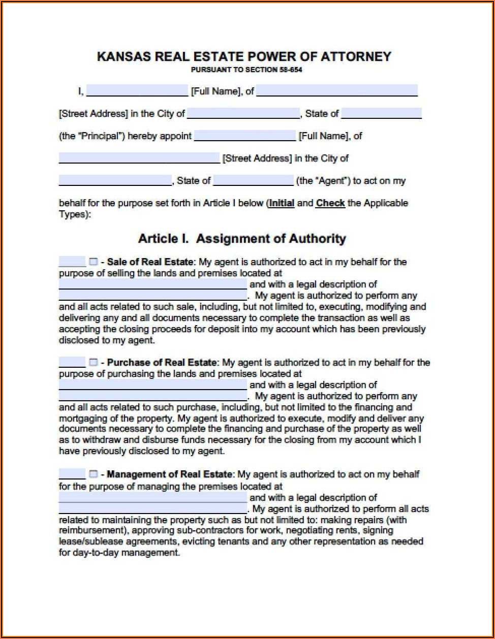 Durable Power Of Attorney For Finances Form Kansas