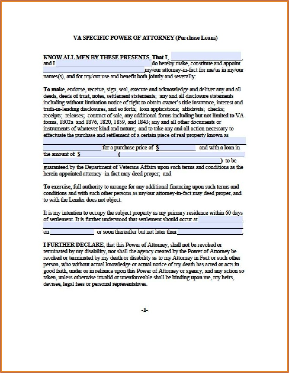 Durable Power Of Attorney For Finances Form Virginia