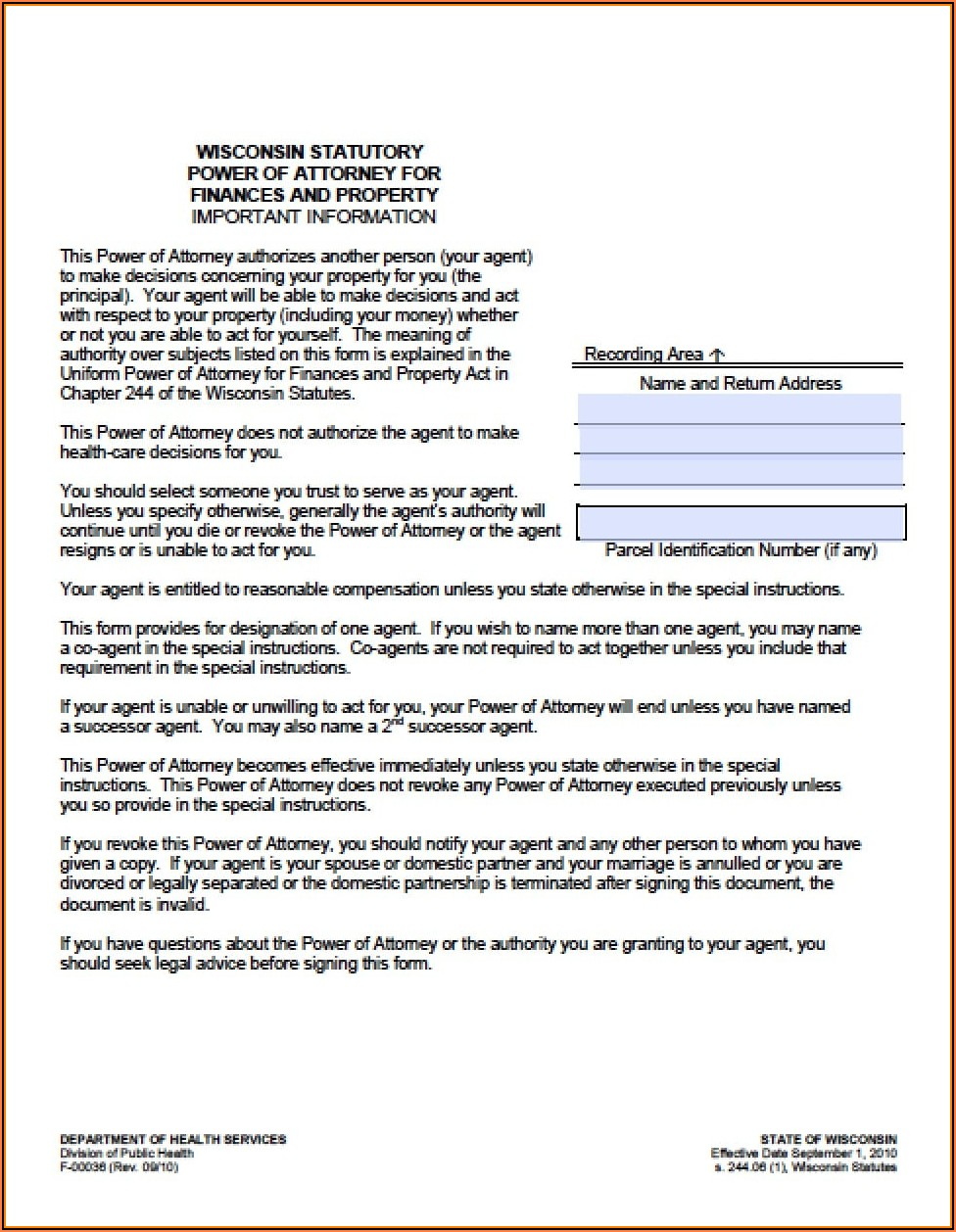 Durable Power Of Attorney For Finances Form Wisconsin