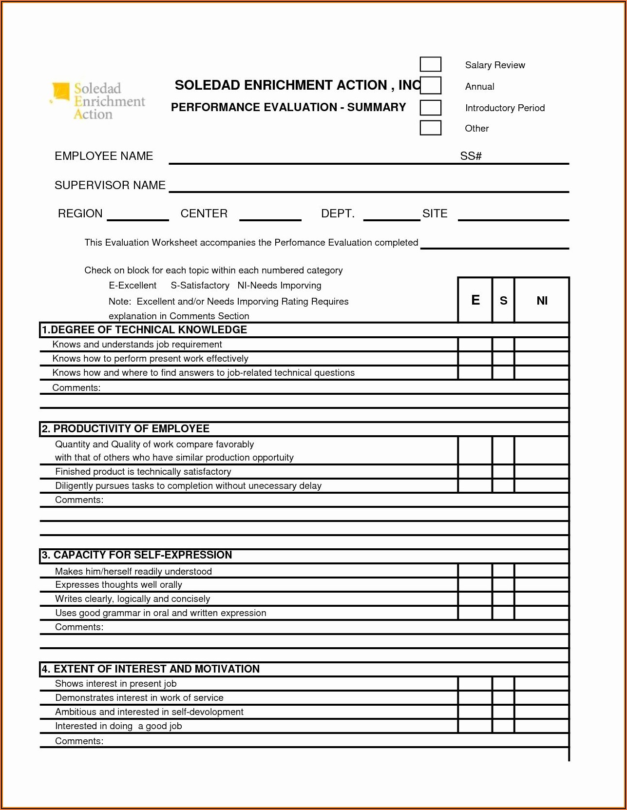Employee Performance Appraisal Form Template Free