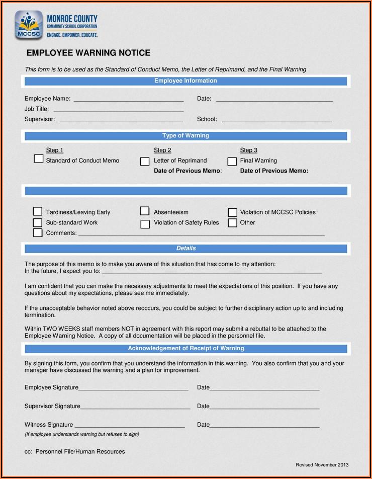 Employee Warning Form Free