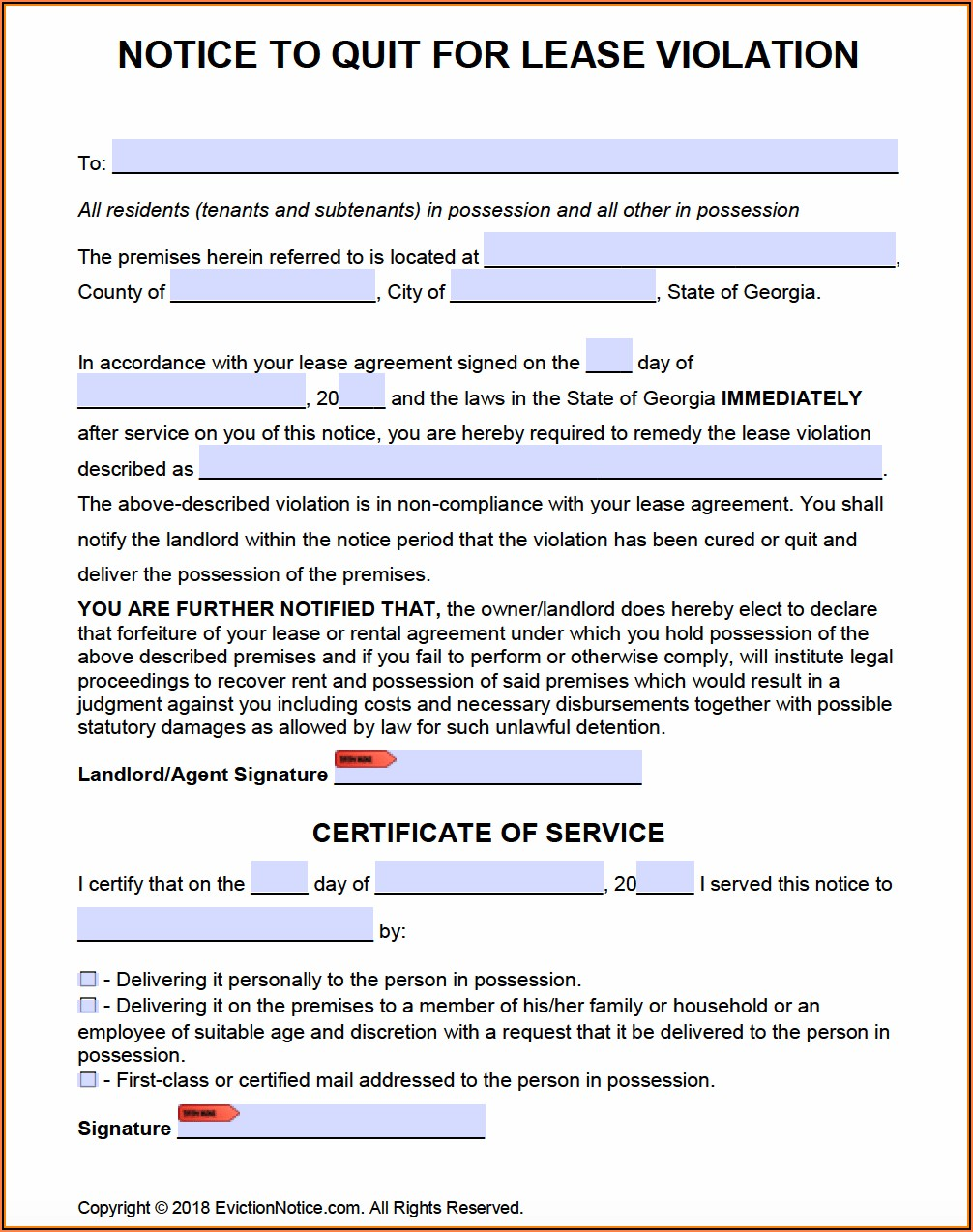 Eviction Notice Form Georgia Free