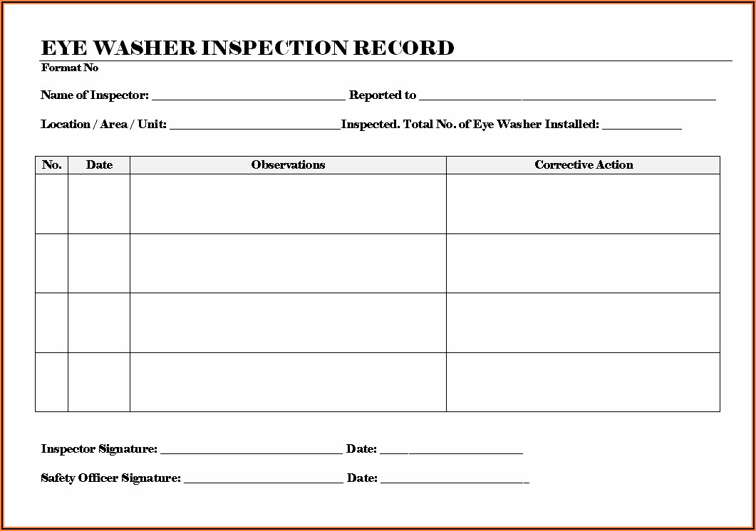 Eye Wash Station Inspection Form