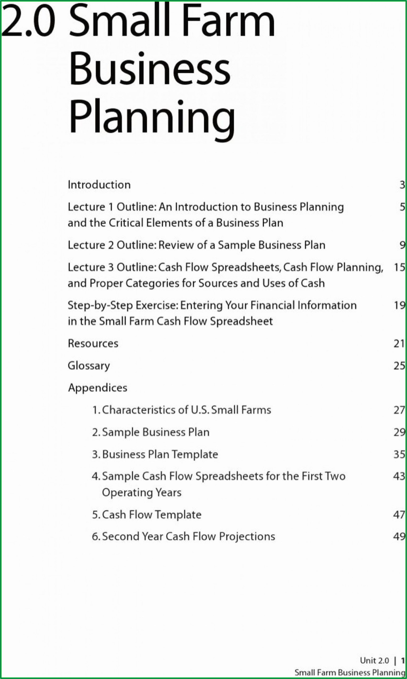 Farm Business Plan Template Australia