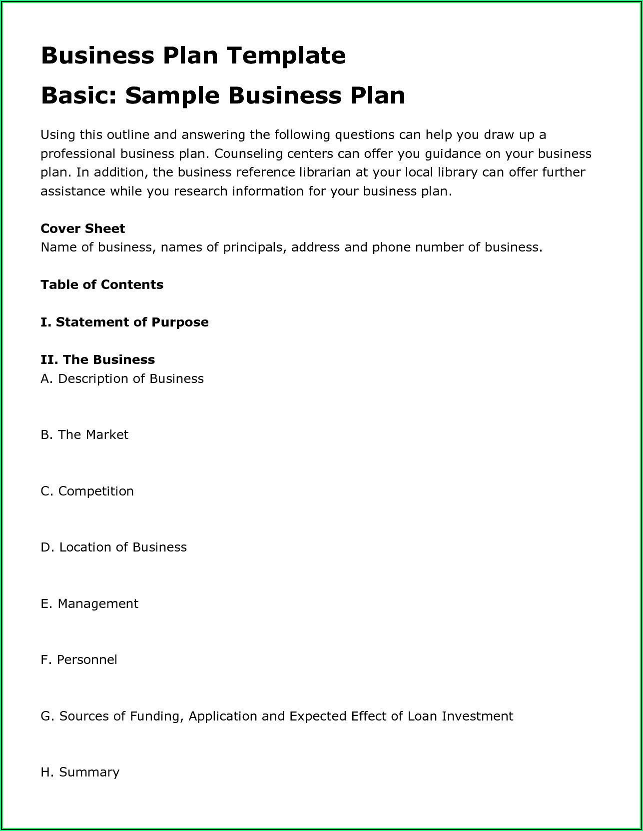Farm Business Plan Template Canada