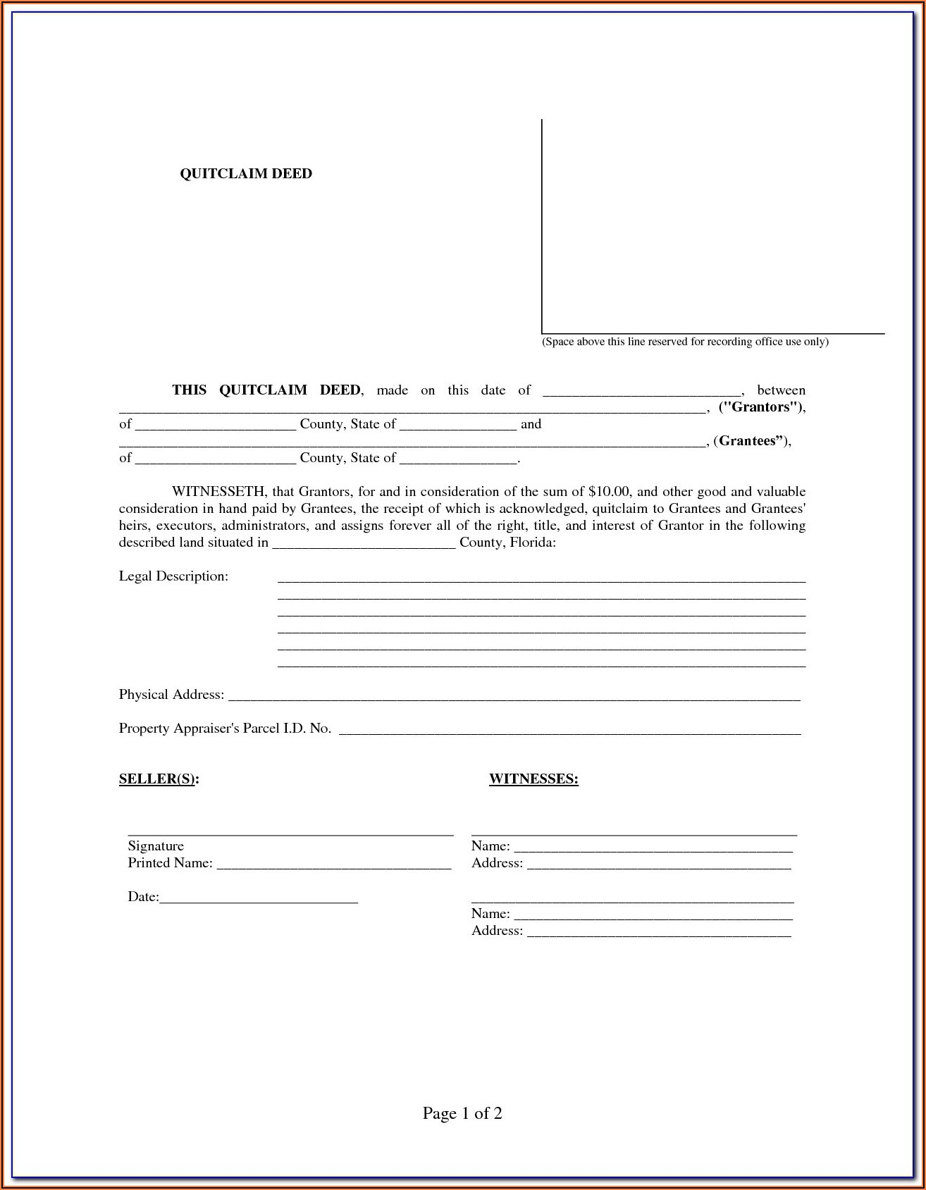 Florida Warranty Deed Form Pdf