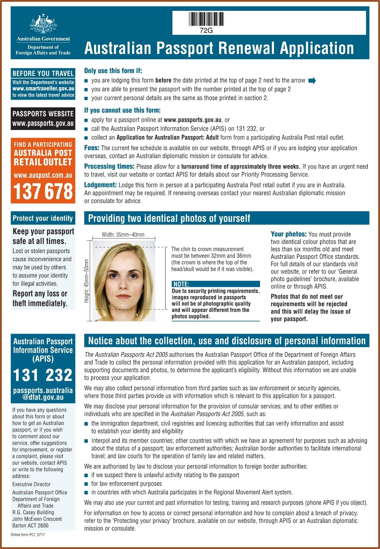 Form For Passport Renewal Australia