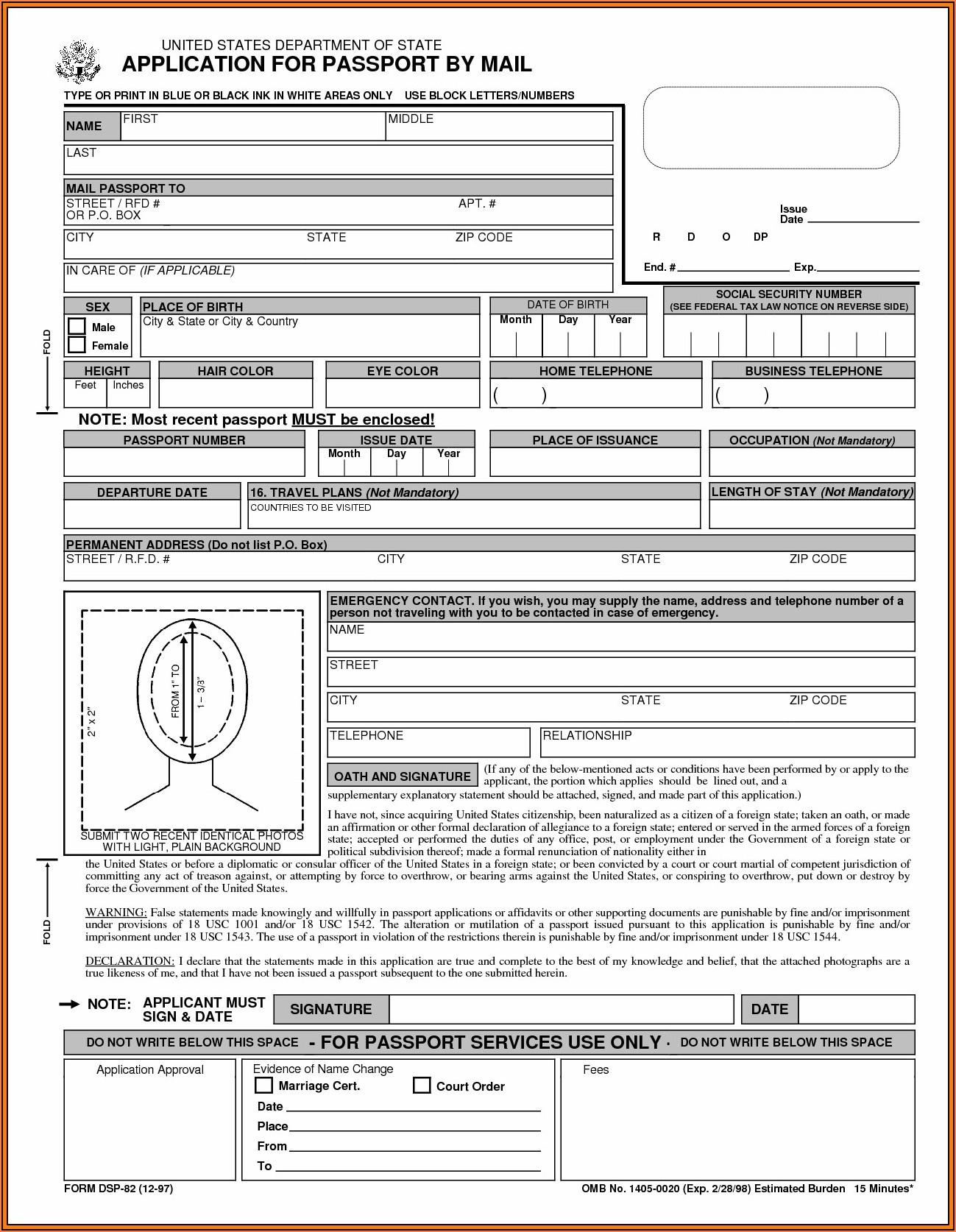 Form For Renewing Passport