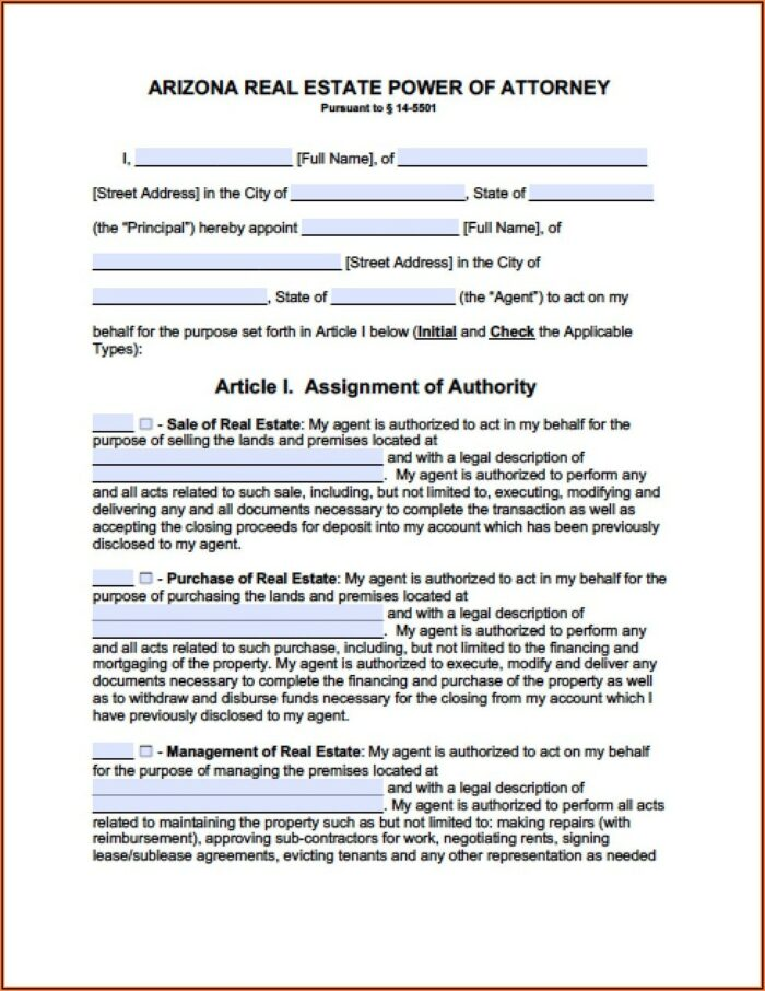 Free Arizona Durable Power Of Attorney Forms To Print