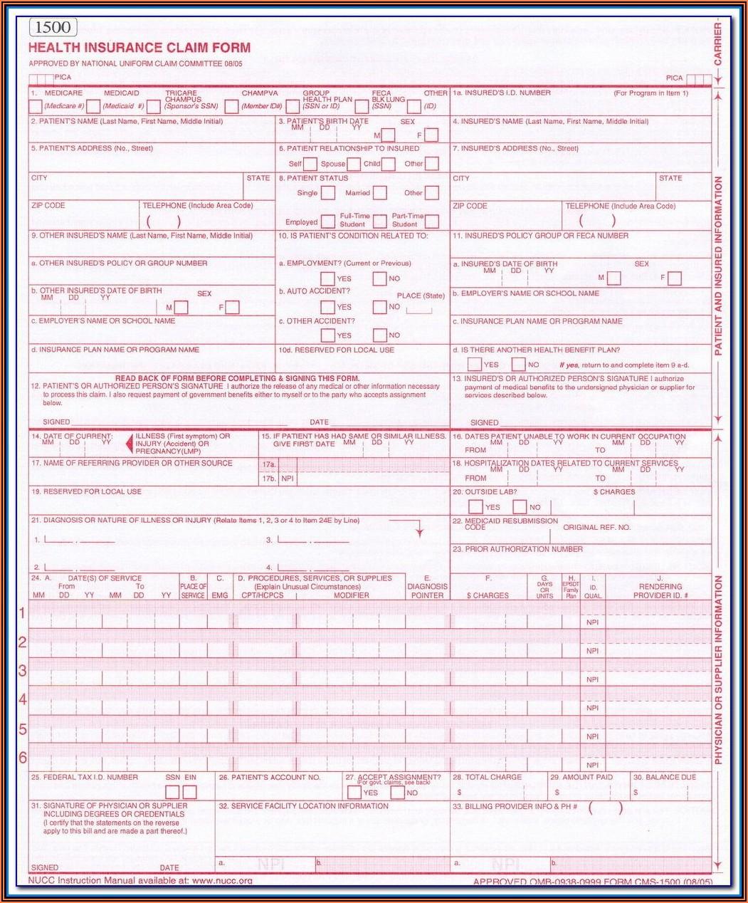 Free Blank Cms 1500 Claim Form Pdf