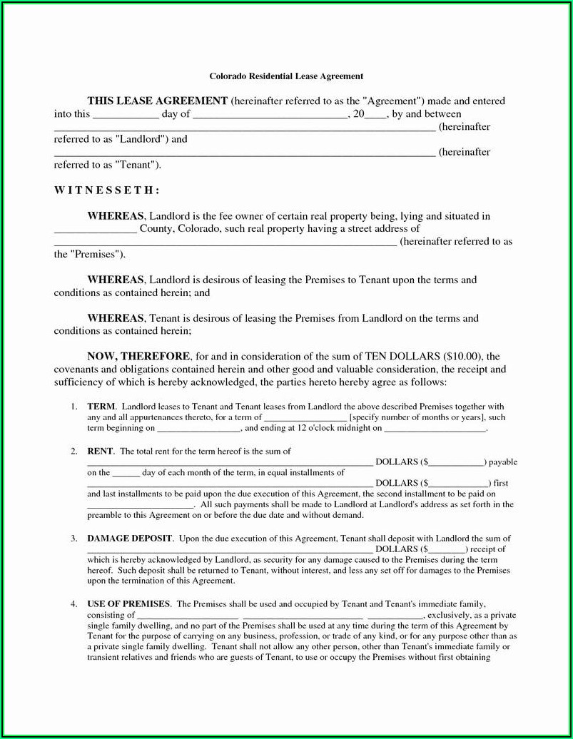 Free Colorado Residential Lease Agreement Form