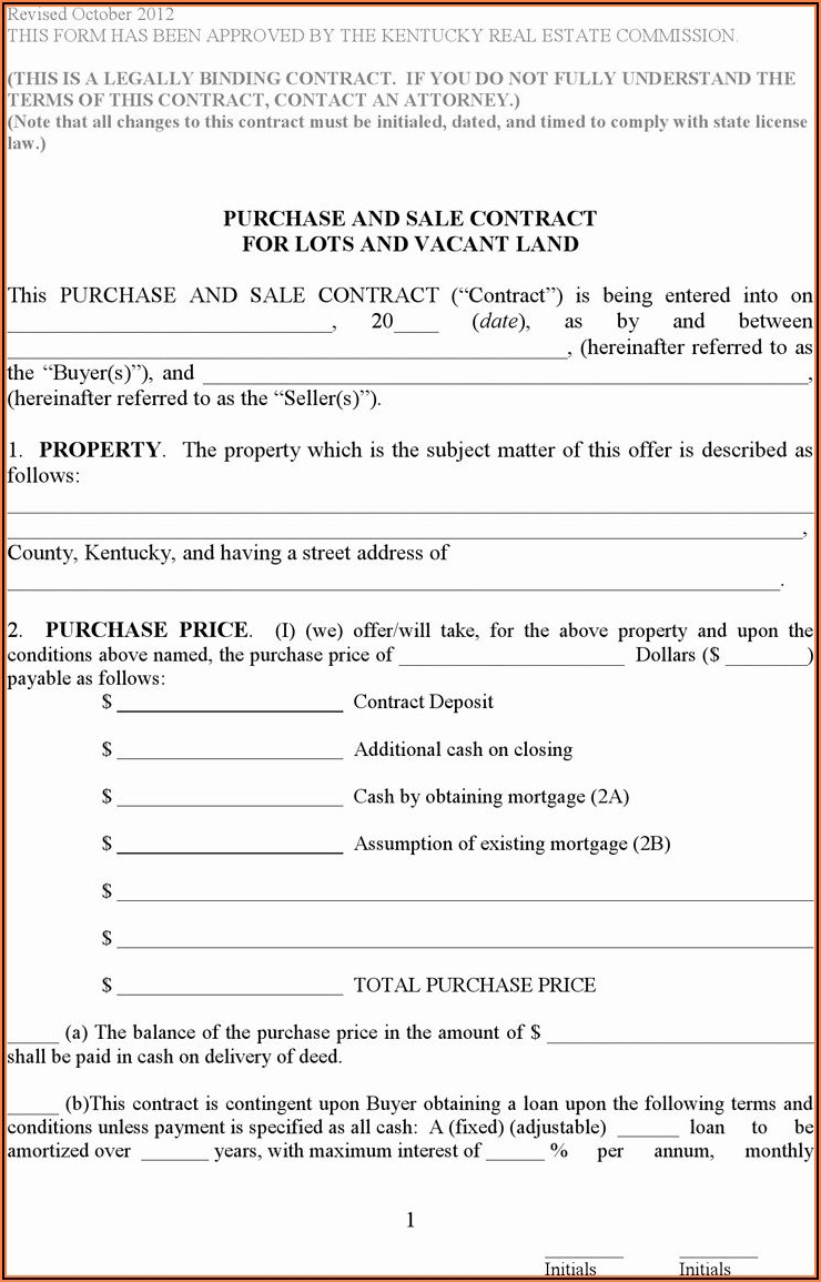 Free Contract For Deed Form Kentucky