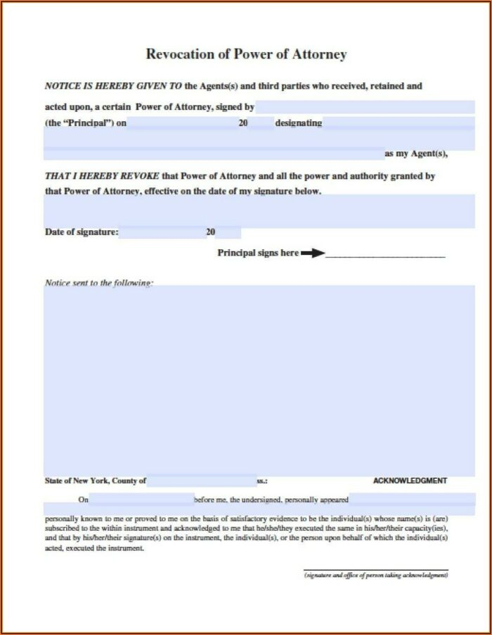 Free Durable Power Of Attorney Form Ny