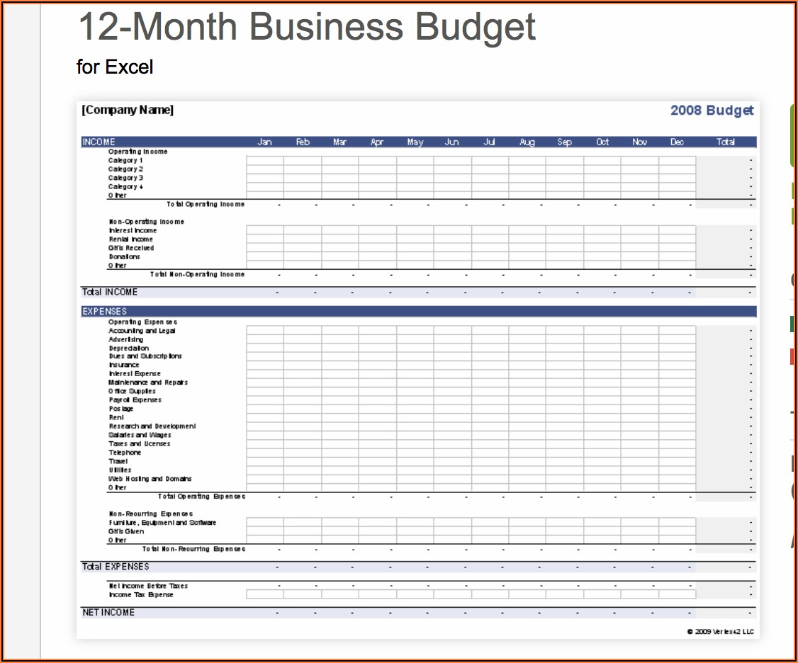 Free Excel Business Budget Template