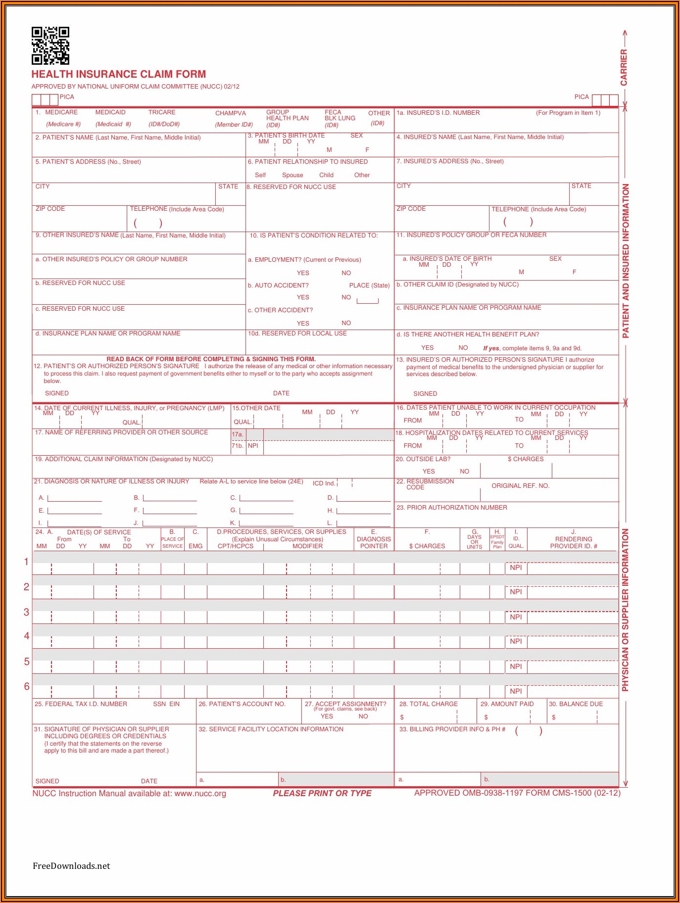 Free Fillable Cms 1500 Form Pdf