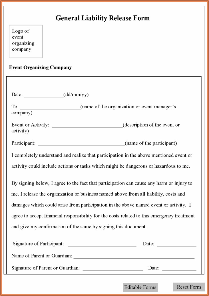 Free General Liability Release Form Template