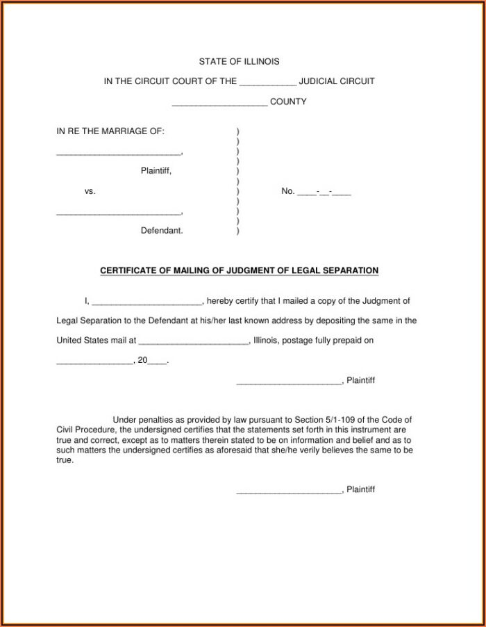 Free Legal Separation Forms Illinois