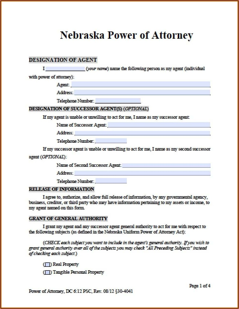Free Medical Power Of Attorney Form Nebraska