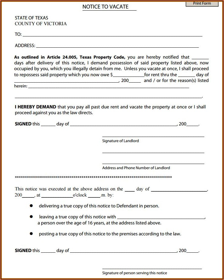 Free Notice To Vacate Form Texas