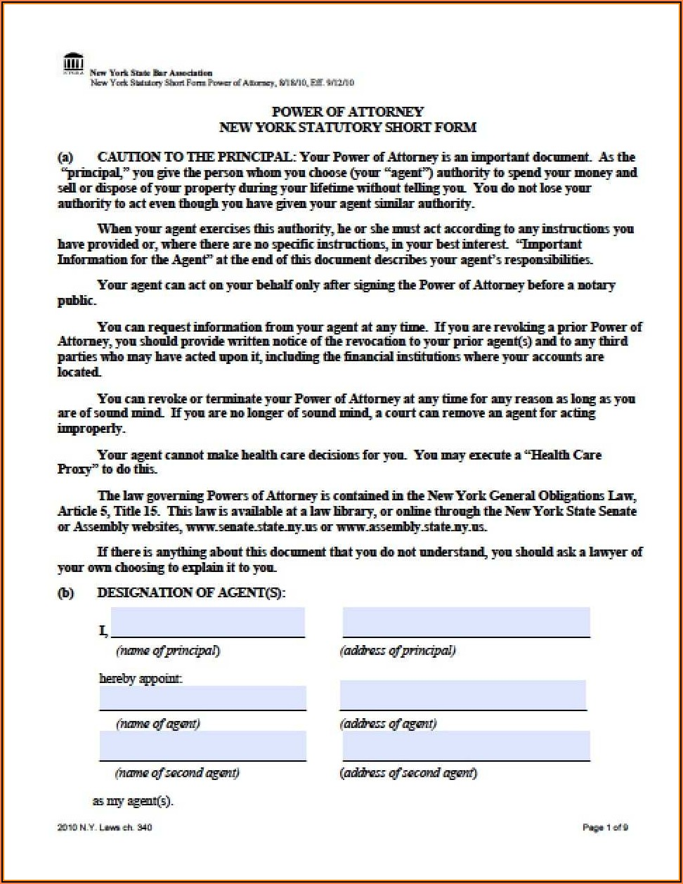 Free Nys Durable Power Of Attorney Forms To Print