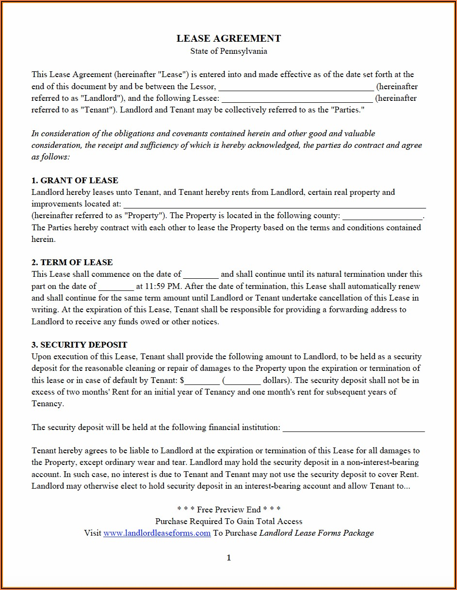 Free Pennsylvania Residential Lease Agreement Form