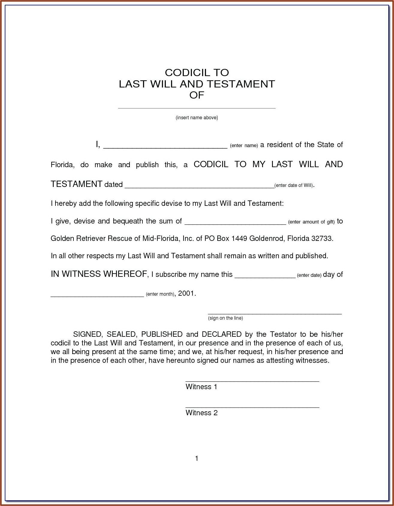 Free Printable Codicil Form Uk