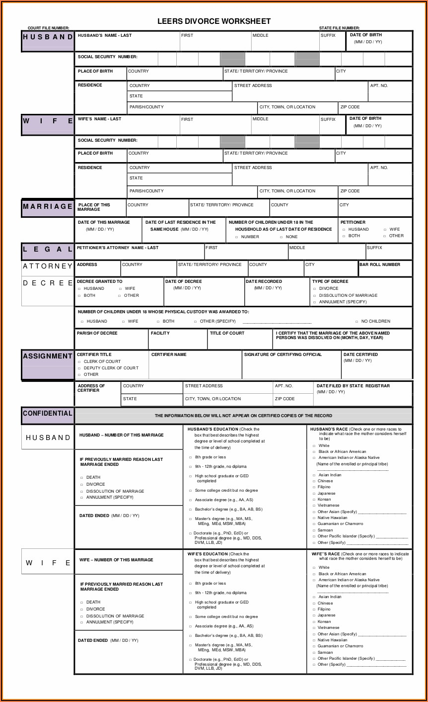 Free Printable Divorce Decree Forms