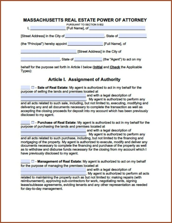 Free Printable Durable Power Of Attorney Form Massachusetts