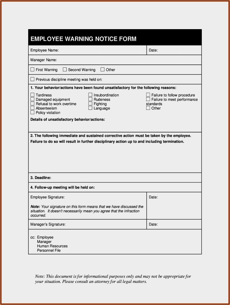 Free Printable Employee Warning Form