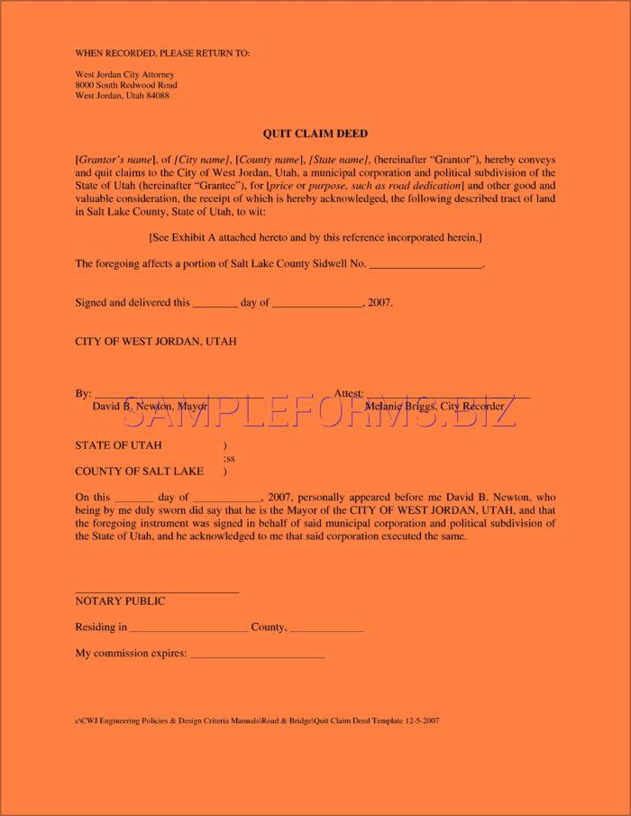 Free Quit Claim Deed Form Utah