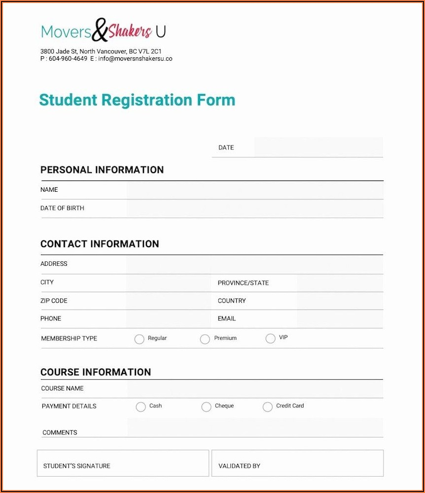 Free Registration Form Template Download