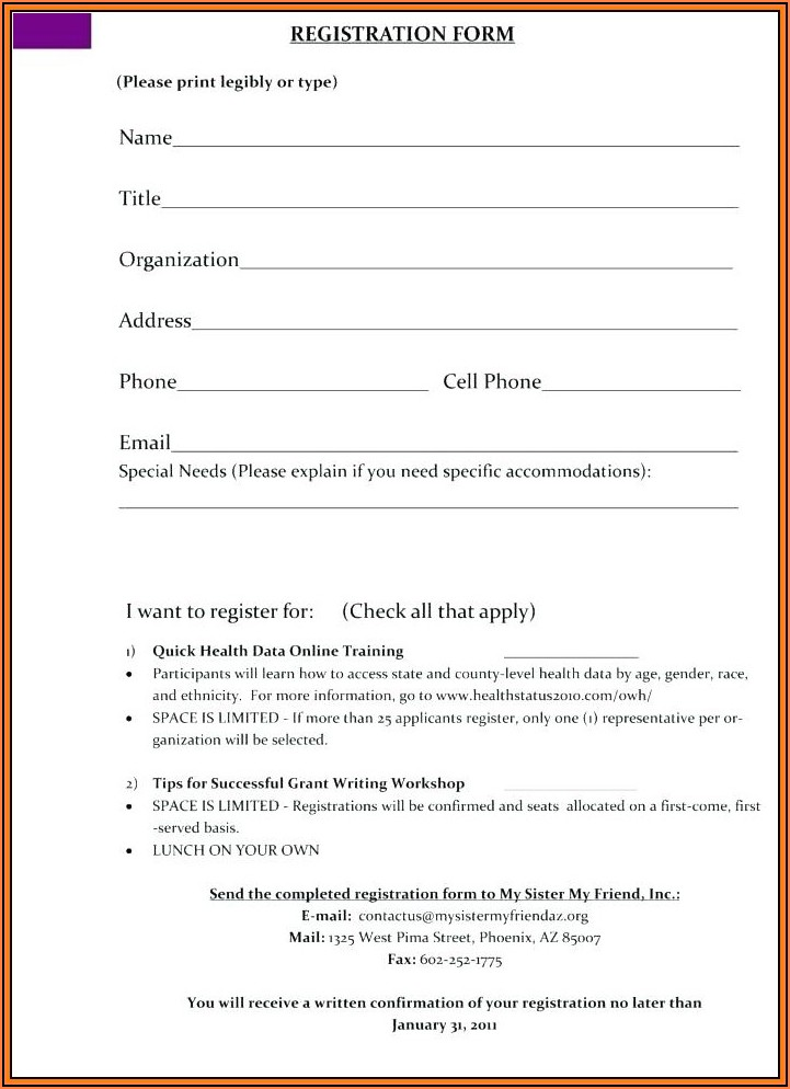 Free Registration Form Template Html