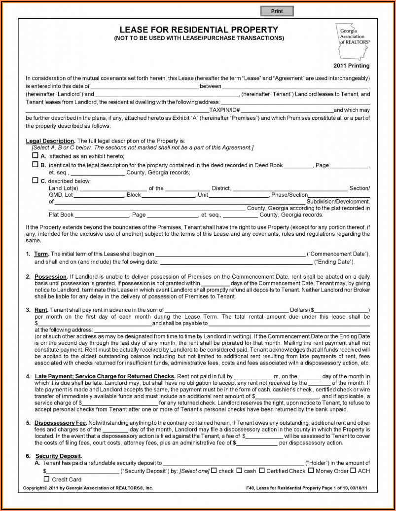 Free Residential Lease Agreement Form Pdf