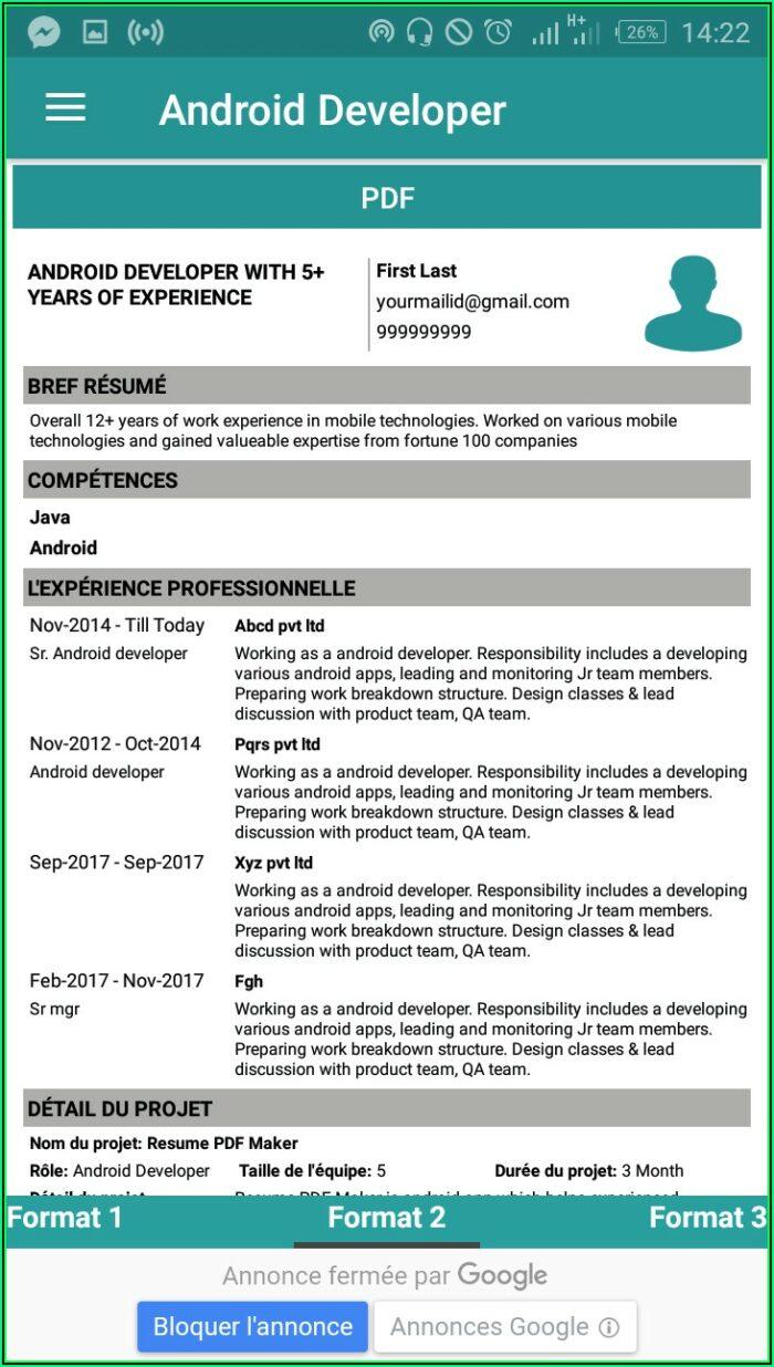 Free Resume Builder Cv Maker Templates Pdf Formats Apk