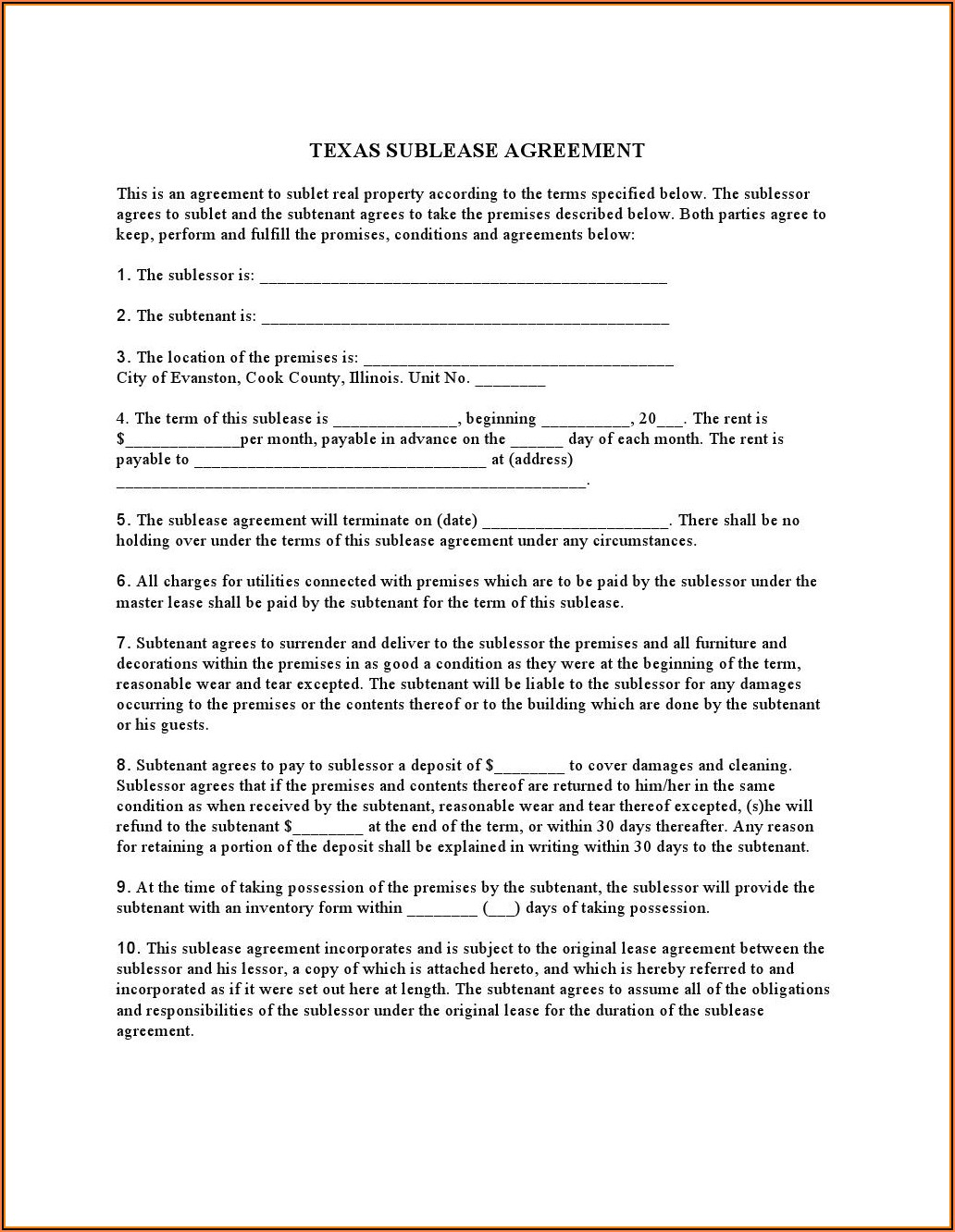 Free Sublease Agreement Form