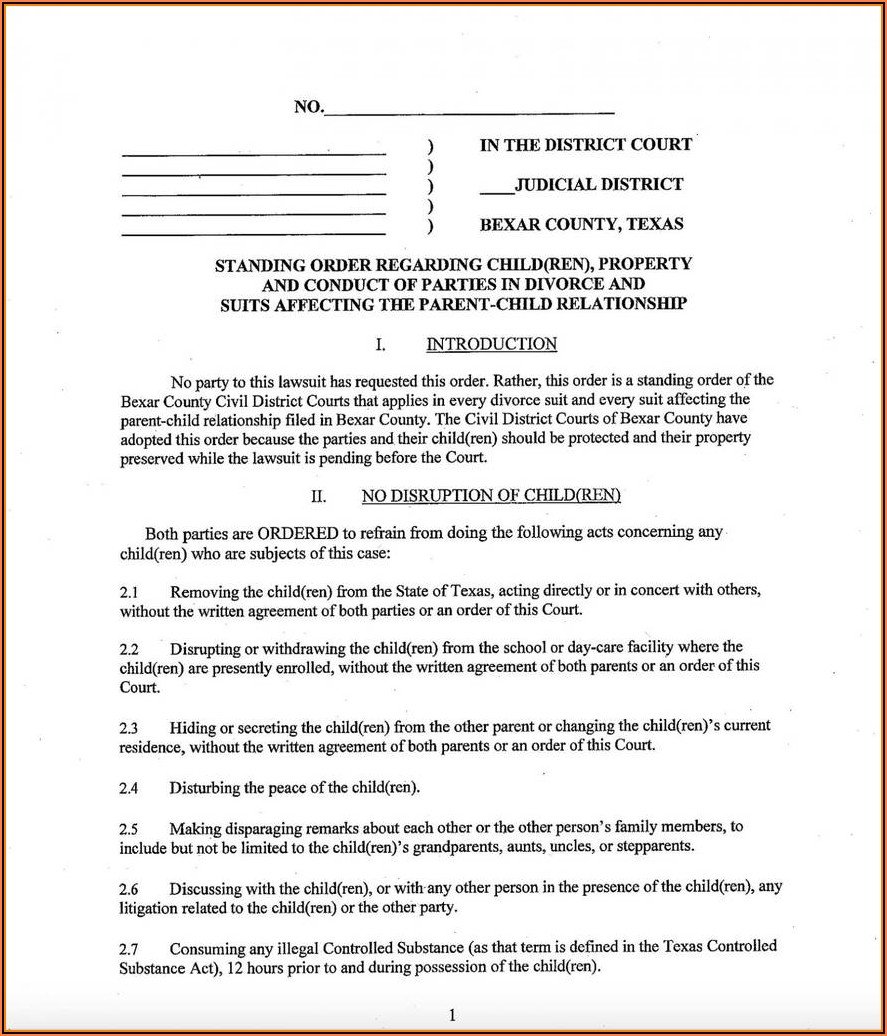 Free Texas Uncontested Divorce Forms Pdf