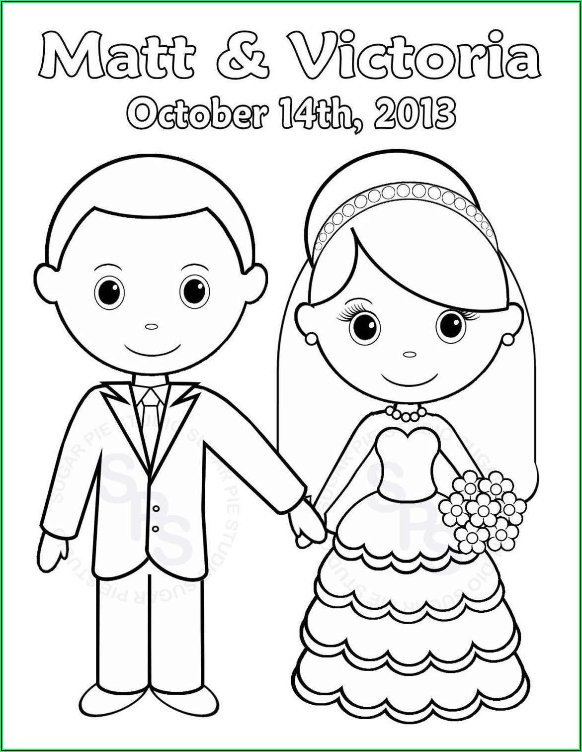Free Wedding Coloring Book Template